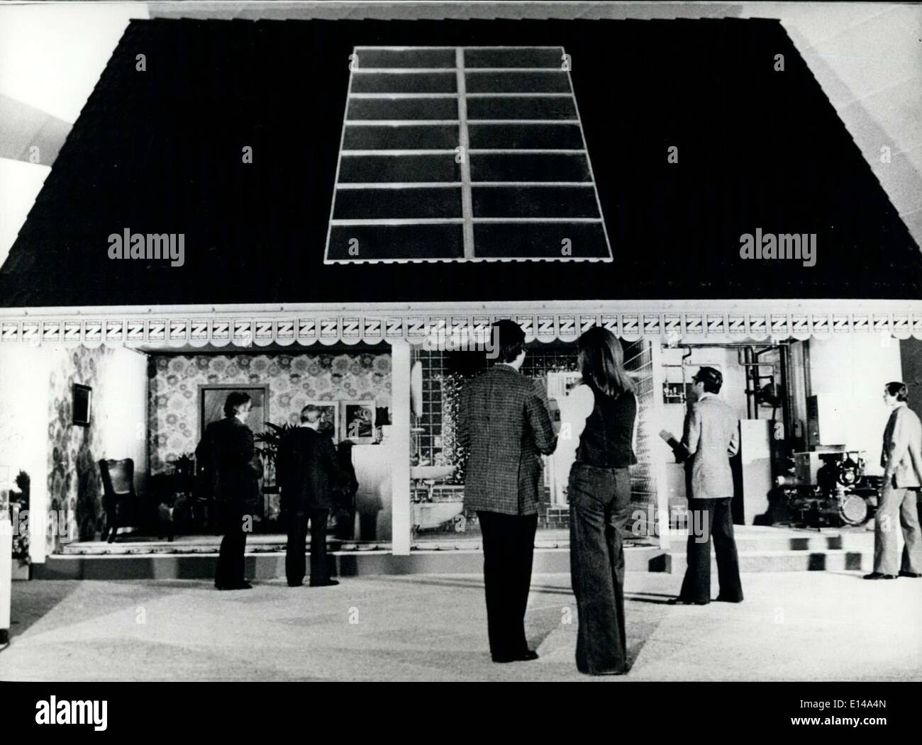 Apr. 17, 2012 - Novel combined solar heating system presented at the Hannover Fair April 28 to May 6, 1976 : This ''cut up'' ho - Stock Image