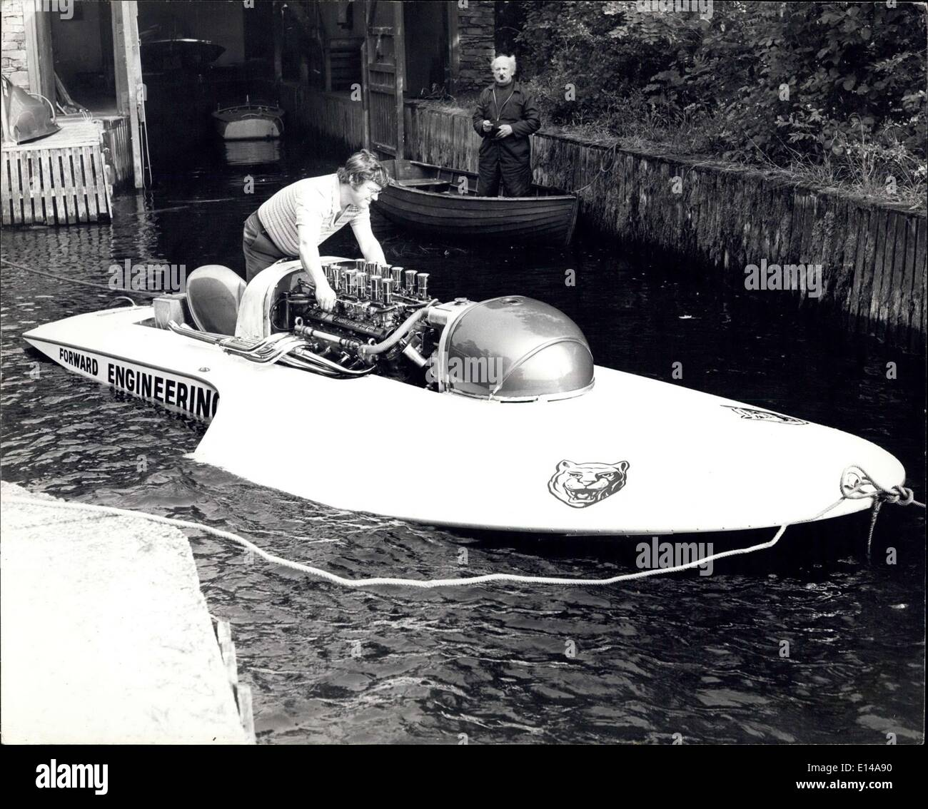 Apr. 17, 2012 - 30 Year Old Manchester Businessman Sets Out To Break World Water Speed Record.: Tony Fahley, a 30 year old business man from Manchester, is preparing to make an attempt on the World R6 water speed record, which at present stands at 120.45.mph. He will also be going for the world, one and two hour endurance records. All the attempts will take place on Lake Windermare, during this month. Tony's hydroplane, Miss Windemere V, is powered by a Jaguar XJ5.3 engine which, it is hoped, will reach up to speeds of between 150 and 175 m.p - Stock Image