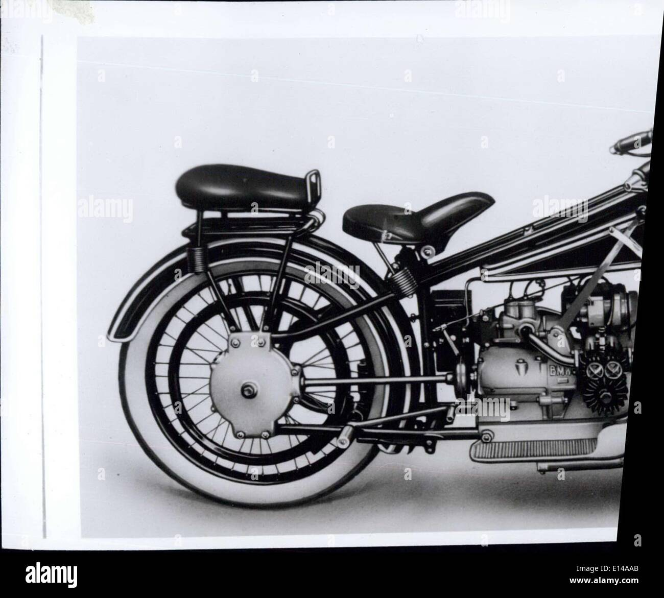 Apr. 17, 2012 - ''(Illegible)''irst BMW motorcycle, equipped ''(Illegible)''tor'', 2 horizontal cylinders, ''(Illegible)''rdan'' axle, double-steeltube ''(Illegible)''e sensation of the 1923 Paris. - Stock Image