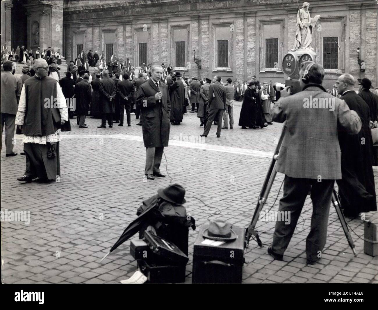 Apr. 17, 2012 - Rome, November 1962- Also the Conciliar Fathers take pictures on San Peter Square! Attention for all the cameraman, the Conciliar Fathers could really become dangerous competitors! - Stock Image