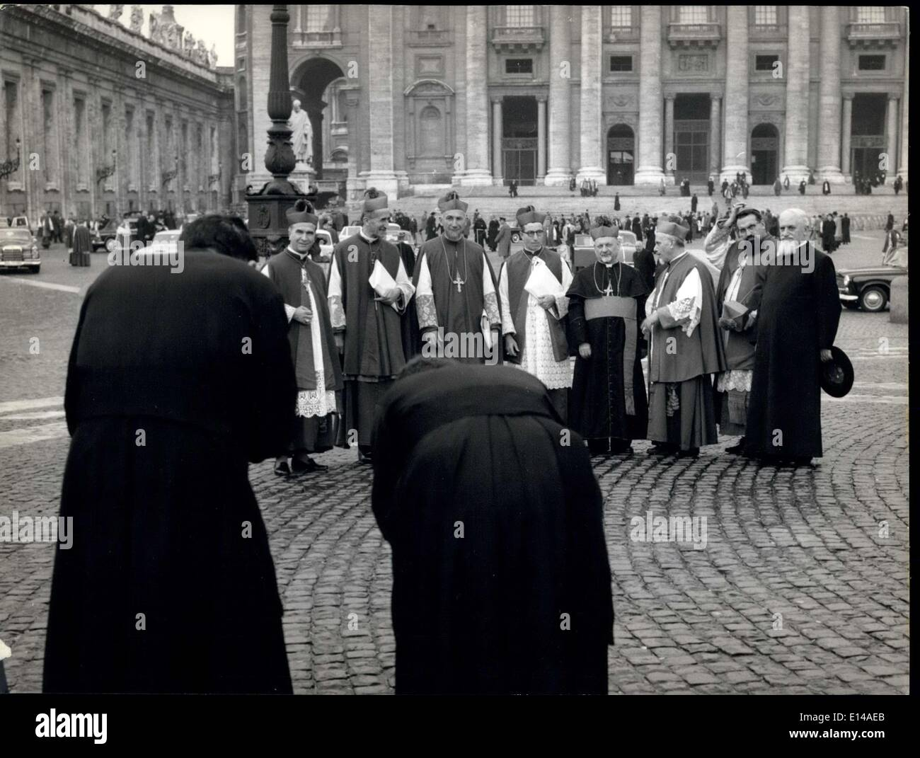 Apr. 17, 2012 - Also the Conciliar Fathers take pictures on san Peter Square! Attention for all the cameramen, the Conciiar Fathers could really become dangerous competitors. - Stock Image