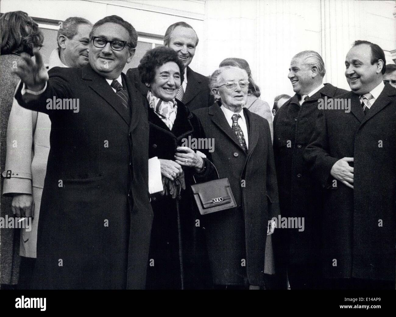 Apr. 17, 2012 - US Foreign Minister Kissinger Visited his Native Town Furth: US Foreign Minister henry Kissinger paid a short visit to his native town Furth (Bavaraia), where he received the golden civic medal, because of his ''passionate efforts for peace''/ The minister, who was accompanied by his wife and his parents Louis and Paula Kissinger, was rewarded this medal already two years ago, but had not found the time to come to Furth before. Henry Kissinger was born iun Furth (near Nuremberg) in 1923 and hat to emigrate with his parents on the age of 14 because of Nazi pursuit - Stock Image