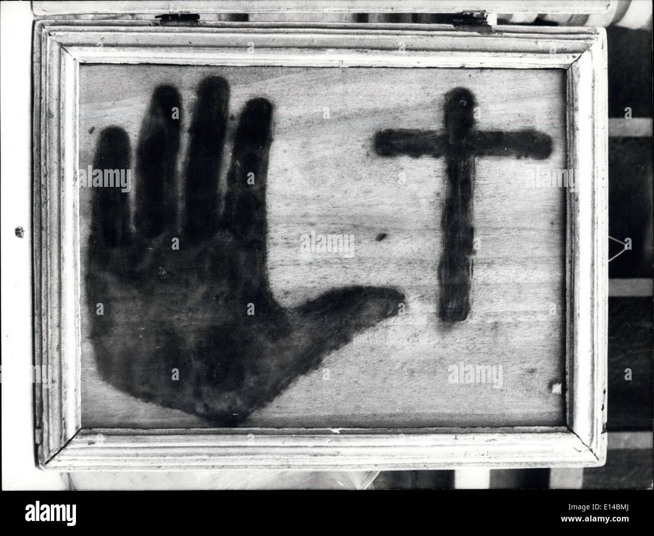 Apr. 17, 2012 - The Print of the hand and the cross made by a dead, as the Witness of sister Sabelle Fornari, abbess of Monastery of St. Francis, in Todi. It may belong a certain father Panzini, died on 1731, who should impress it on the table where the sister used for her work. - Stock Image