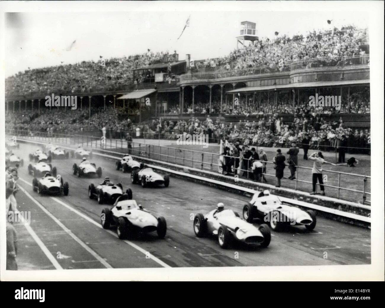 Apr. 17, 2012 - British and European Grand Prix at Aintree. Photo shows the scene as the cars move off for the start of the race today. - Stock Image