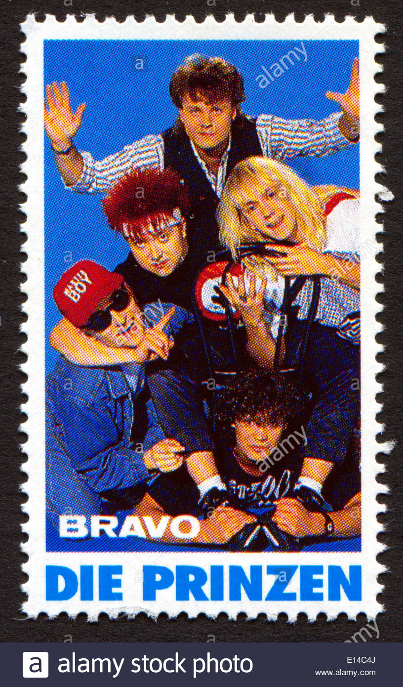 Die Prinzen on a vintage postage stamp by Bravo from early 1980s - Stock Image