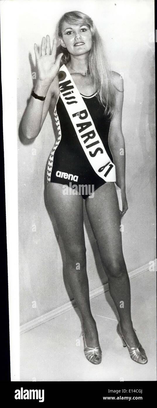 Apr. 17, 2012 - Miss Paris 1981: 25-year-old blonde Jeannine Leroux, has just won the title of 'Miss Paris 1981' and she goes on the the Miss World title which takes pla in London later this year. - Stock Image