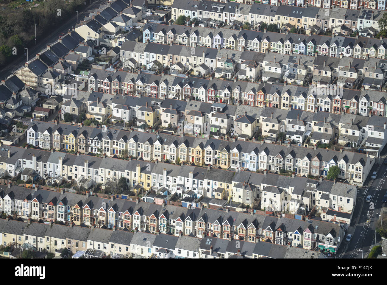 An abstract aerial view of tightly packed terraced housing in Plymouth, Cornwall UK - Stock Image