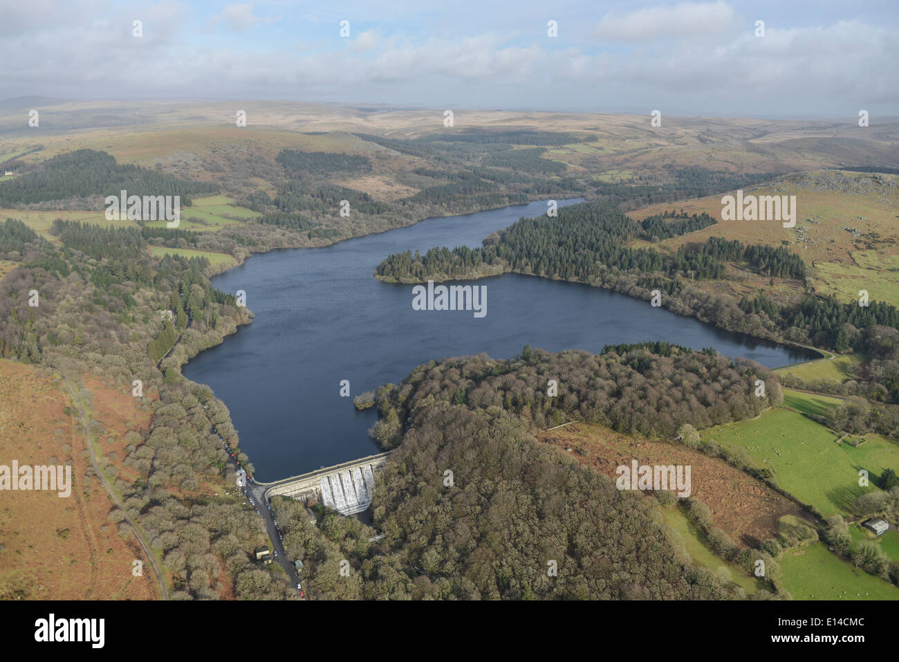 A scenic aerial view of the Burrador Reservoir, near Plymouth UK - Stock Image