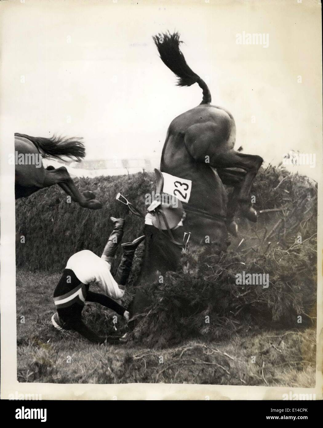 Apr. 17, 2012 - China Clipper ,ridden by Major W.D. Giloson, the owner , comes to Grief at the last Fence. - Stock Image