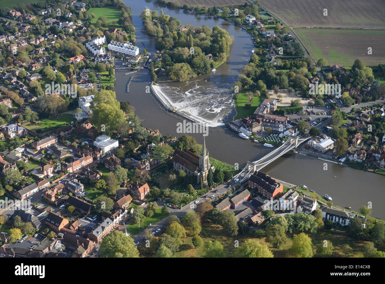 An aerial view showing Marlow in Oxfordshire and the River Thames - Stock Image