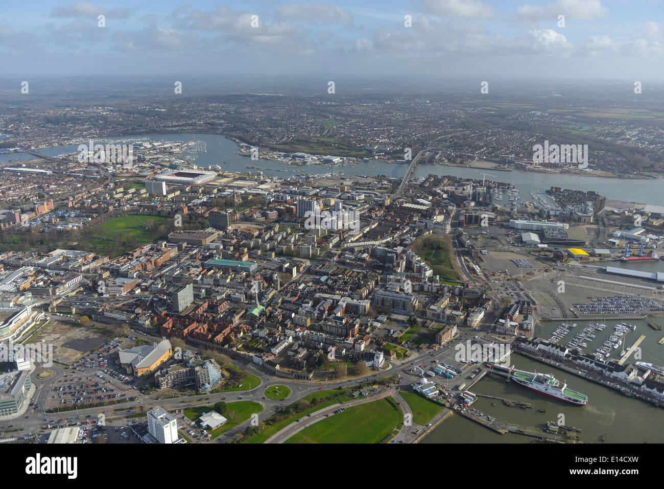 A view looking east over central Southampton showing the River Itchen and football ground Stock Photo