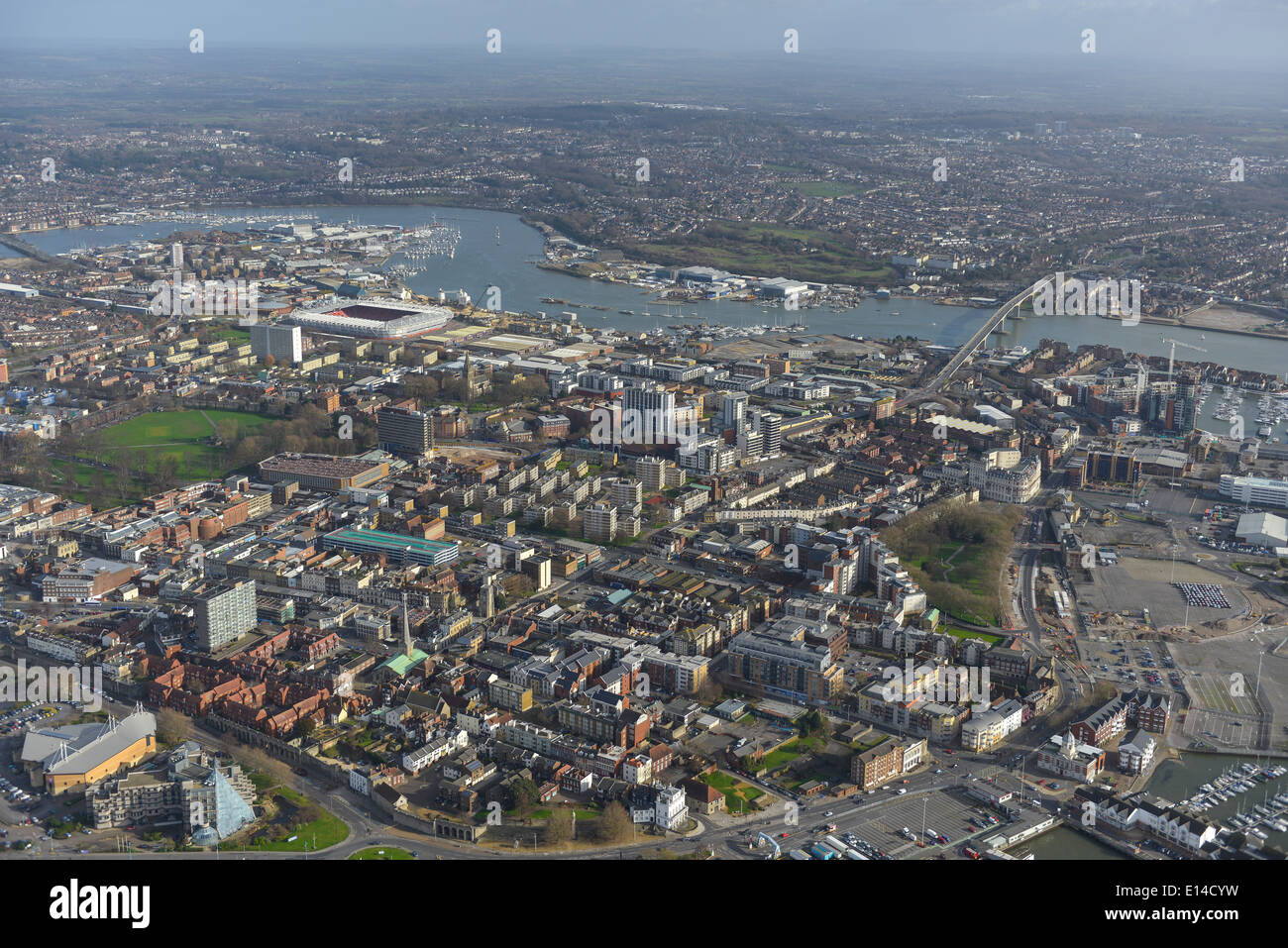 A view looking east over central Southampton showing the River Itchen and football ground - Stock Image