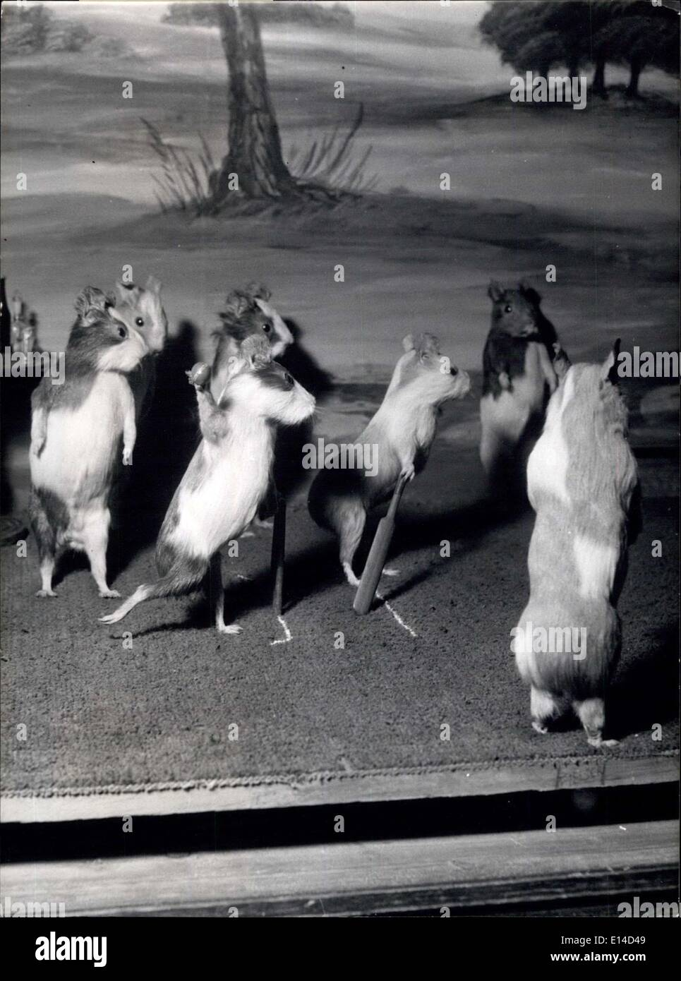 Apr. 17, 2012 - The Guinea Pigs Cricket Match: This is another view of the tableau of a village fete, and reveals the skill with which Potter used the taxide art to transmit his ideas. Expressions, posture, accuracy of detail in the scenery and etceteras are sure indication of genius. - Stock Image