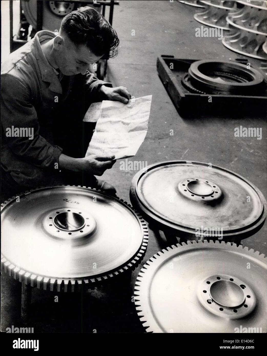 Apr. 17, 2012 - Jet Engine Manu the carbine discs : The Serial-numbers have to be checked carefully before assembly. - Stock Image