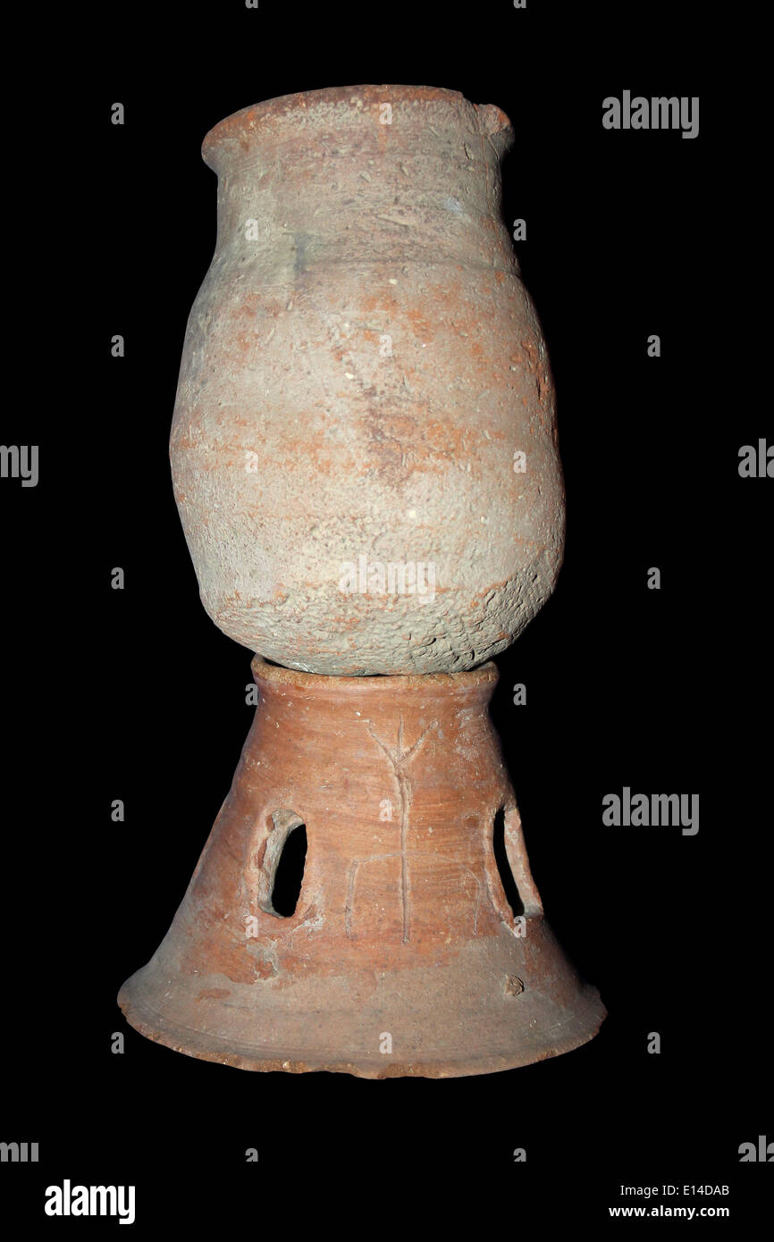 Decorative Pot or Offering Stand, Dynasty 11-13, Egypt - Stock Image