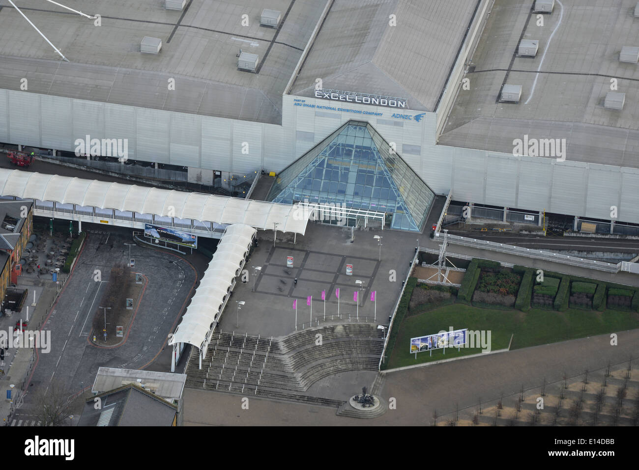 A close-up aerial view showing the main entrance to the Excel Centre in London - Stock Image
