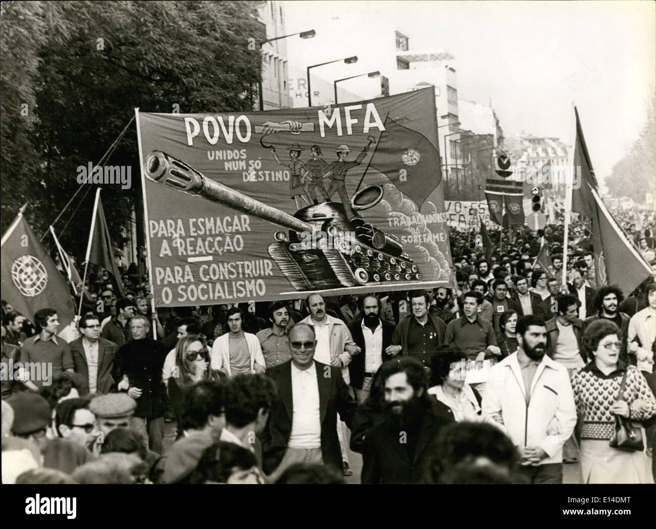 Apr. 18, 2012 - Big Demonstration in Lisbon Organized by ''PCP'' (Portuguese Comunist Party) in - Stock Image