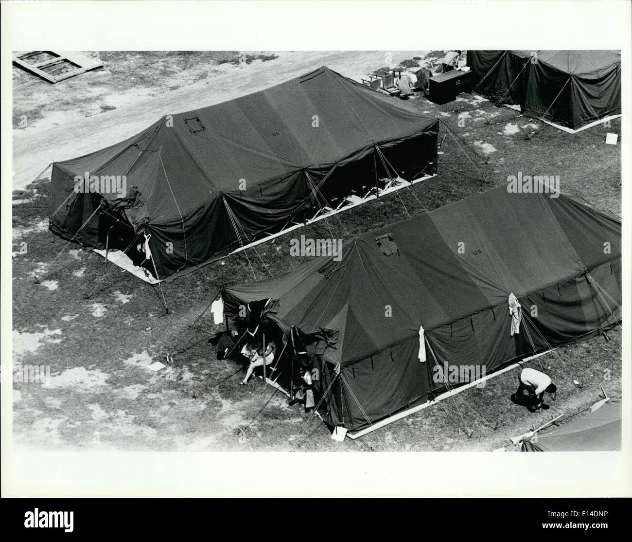 Apr. 18, 2012 - Tent City, the fairgrounds in Fort Walton Beach Florida. The processing center for the Cuban refugees sent from - Stock Image