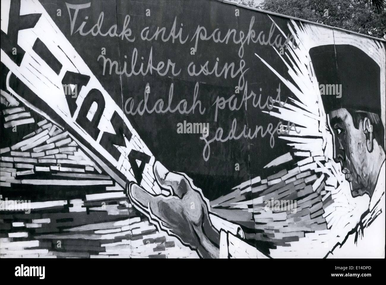 Apr. 18, 2012 - Crush U.S.A.; poster seen in streets of Djakarta, Indonesia of President Sukarno representing the Anti-Foreign Military Conference to be held in Djakarta, October 17-22, 1965. The conference was called to get the USA, Britain and other western so-called imperialist nations to liquidate all their bases in other countries. Credit Carol Goldstein - Stock Image