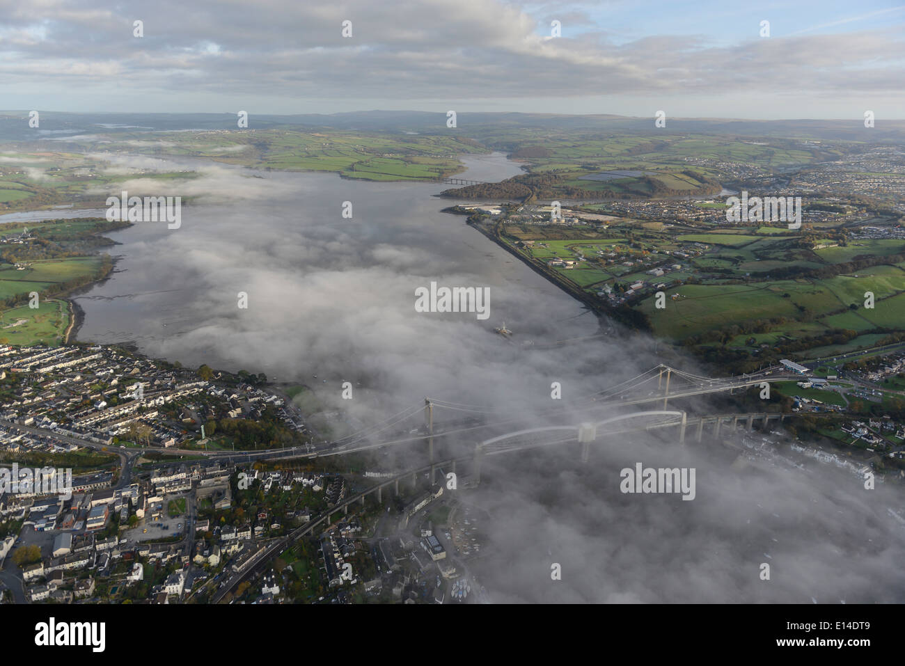An aerial view over the River Tamar showing early morning mist Stock Photo