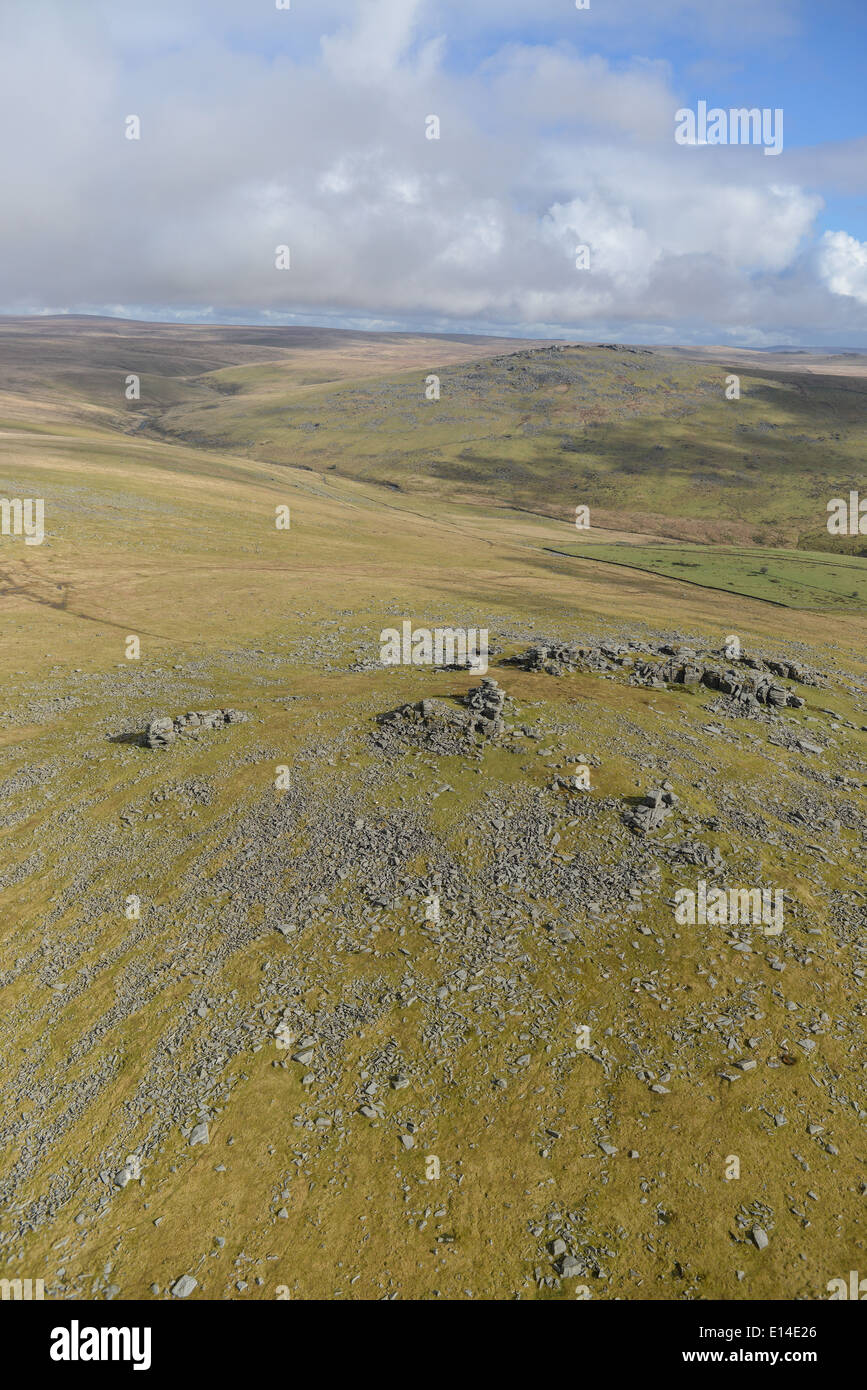 An aerial photograph low over Dartmoor on a sunny winter's day - Stock Image