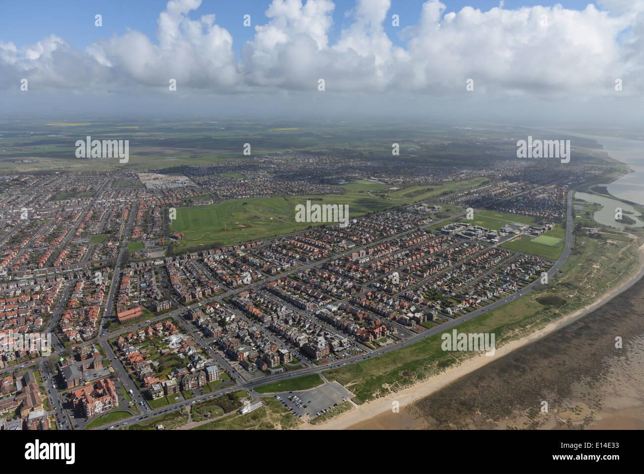 Aerial photograph of Lytham Saint Annes showing Royal Lytham & St Annes Golf Club - Stock Image