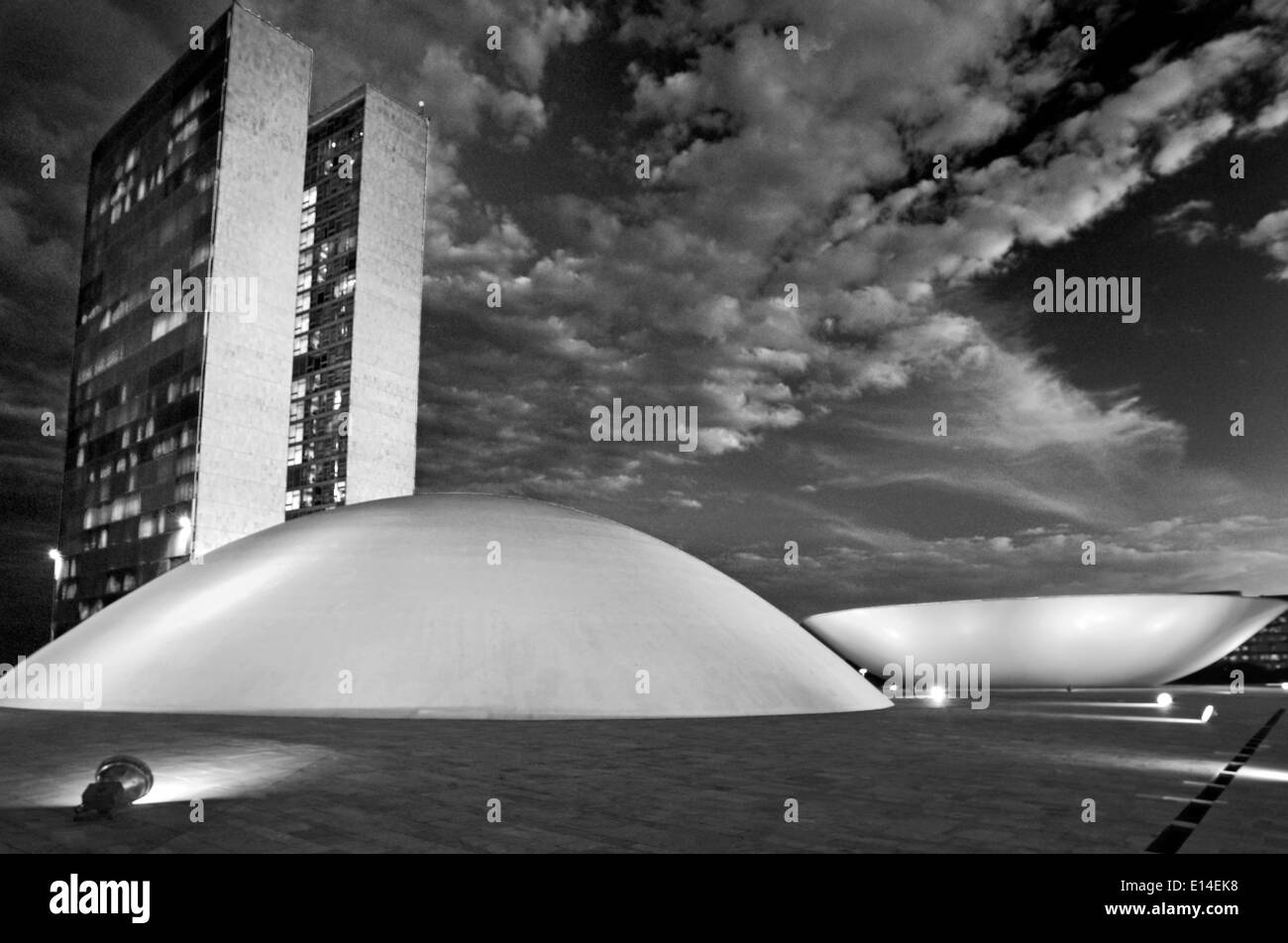 Brazil, Brasilia: Roof perspective of the National Congress at night in black and white version - Stock Image