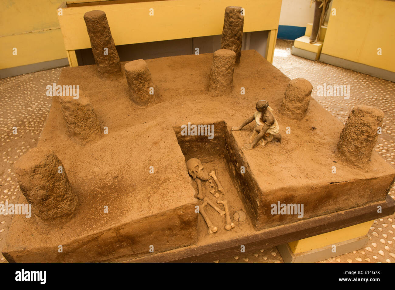 Museum display at Ker Batch Stone Circles, the Gambia - Stock Image