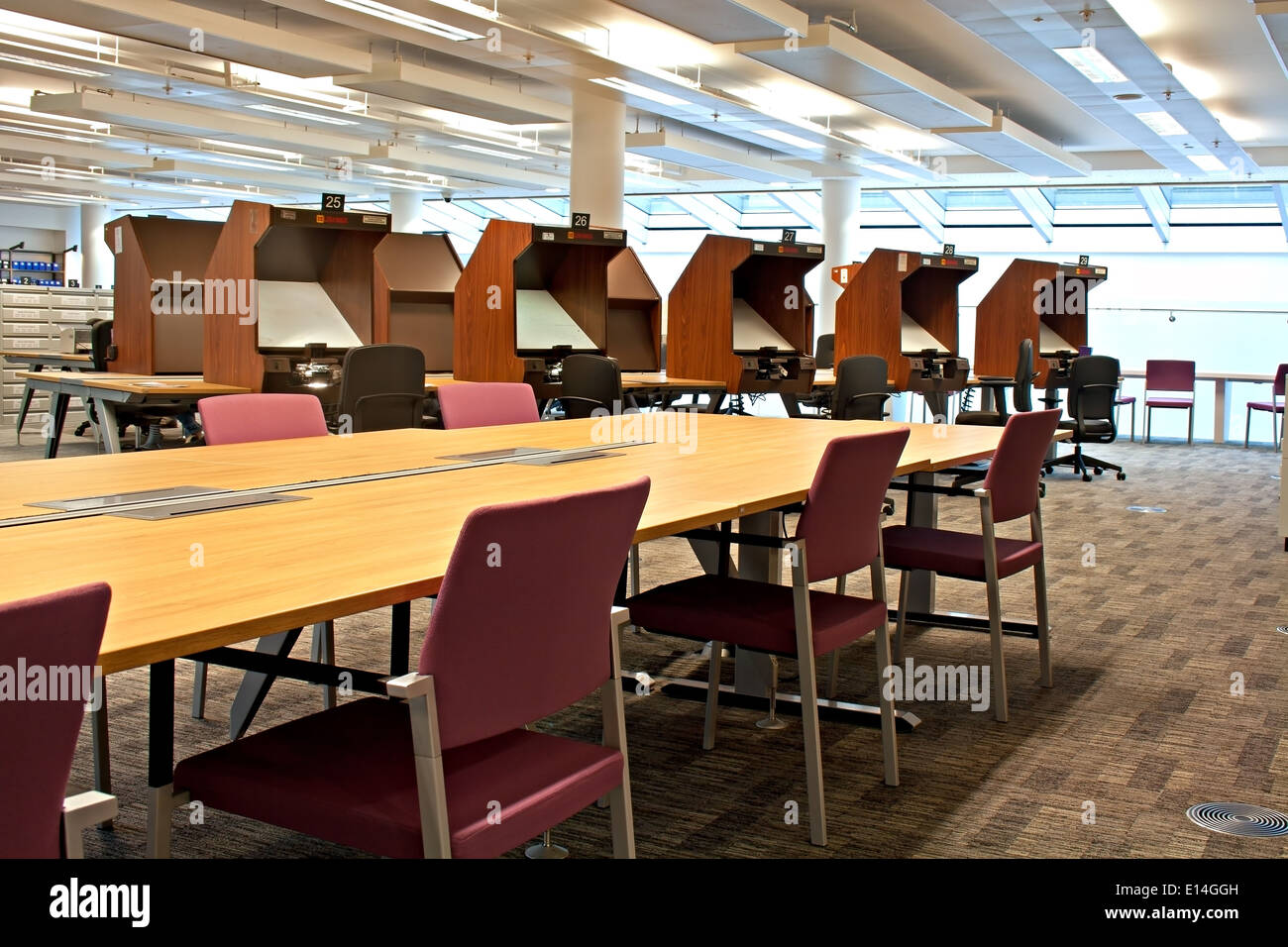 Family history research room in a library - Stock Image