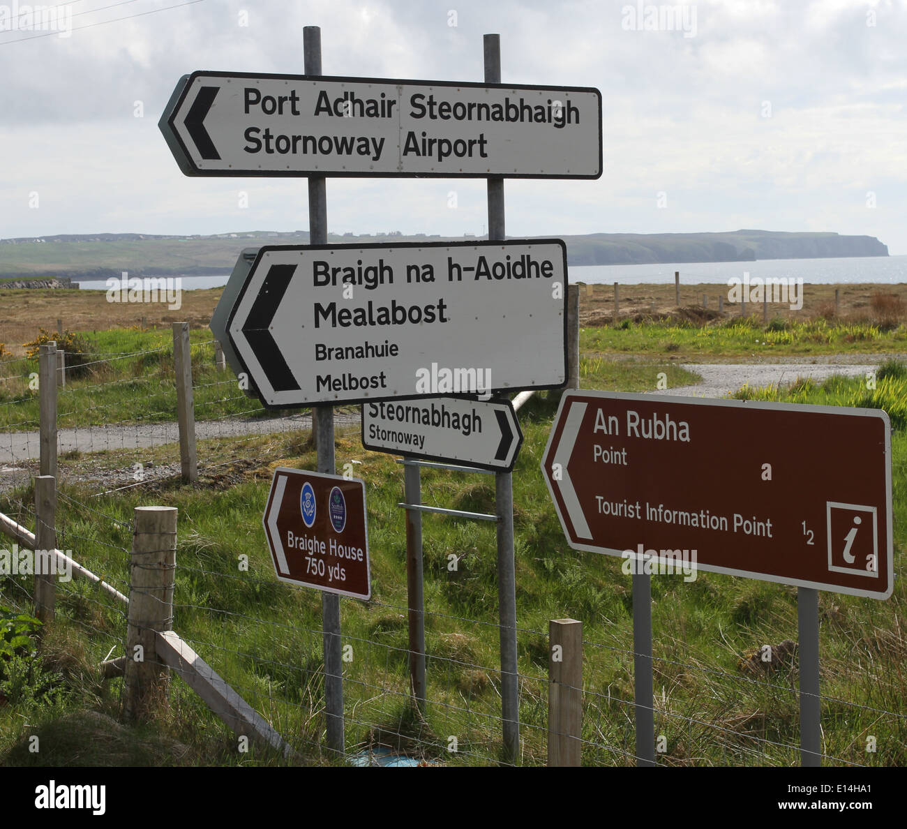 Bilingual sign for Stornoway airport Isle of Lewis Scotland  May 2014 Stock Photo