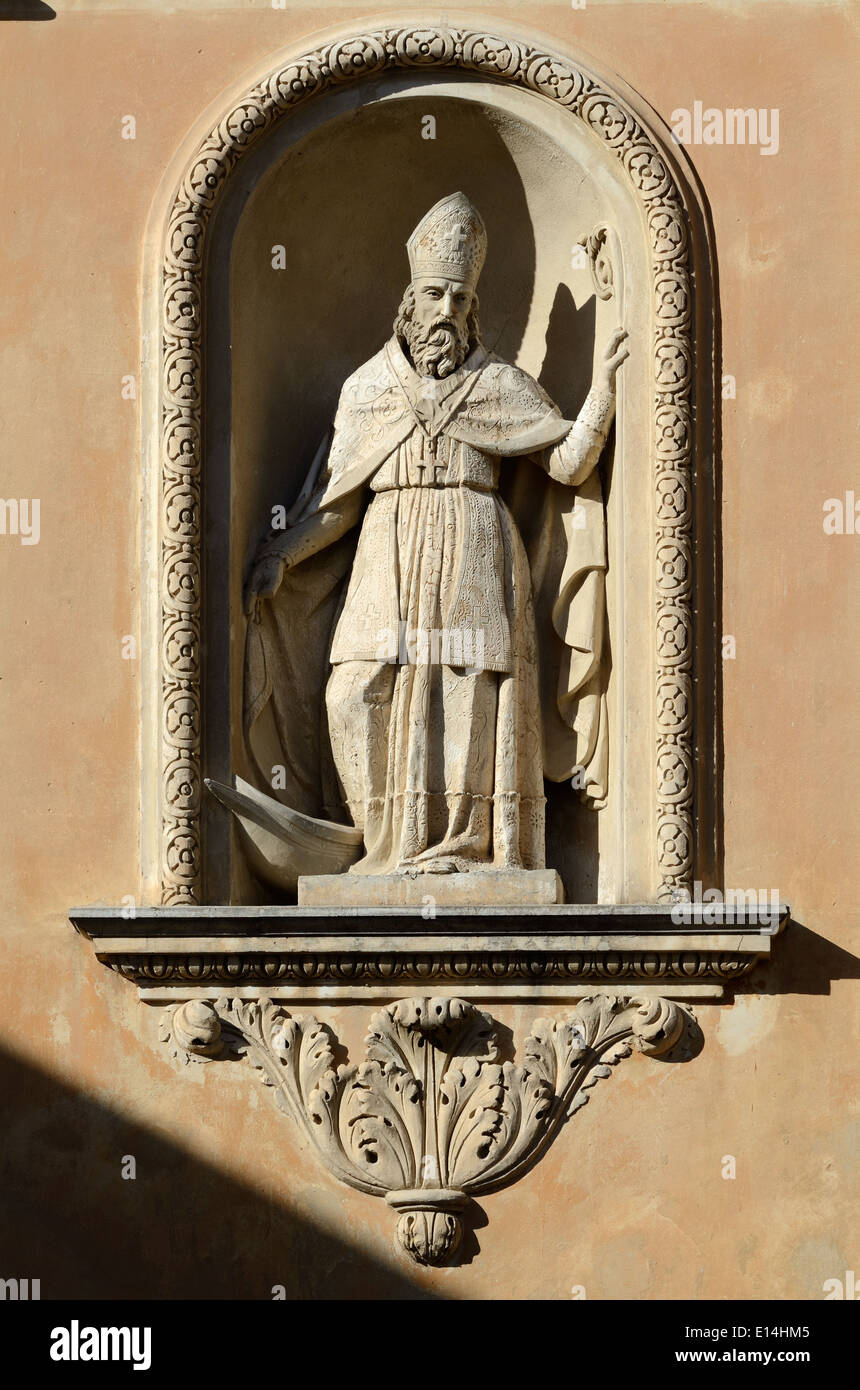 Baroque Sculpture in Niche of the Chapelle des Penitents Blancs (1680) or Chapel of the White Penitents Menton France - Stock Image