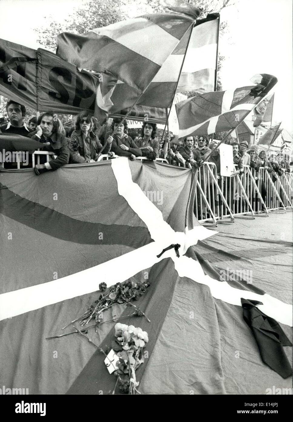 Apr. 05, 2012 - A Basque flag draped in black was draped outside the Spanish Embassy during the demonstration. - Stock Image