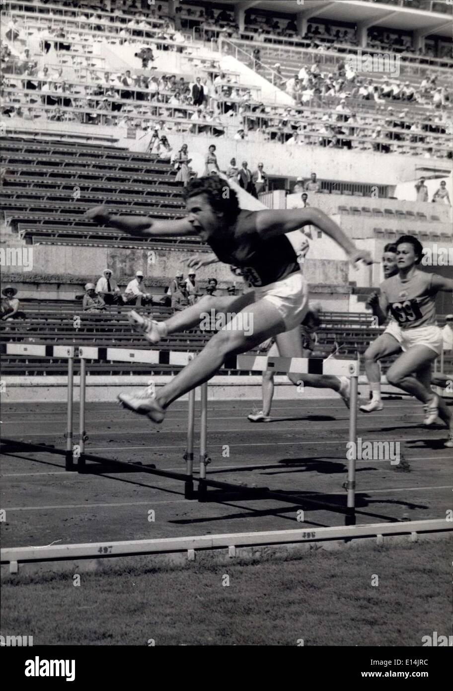 Apr. 05, 2012 - Olympic Games: Athletics First Day. OPS: Irina Press Russia sets up a new Olympic record in 80 m hurdles 10'' - Stock Image