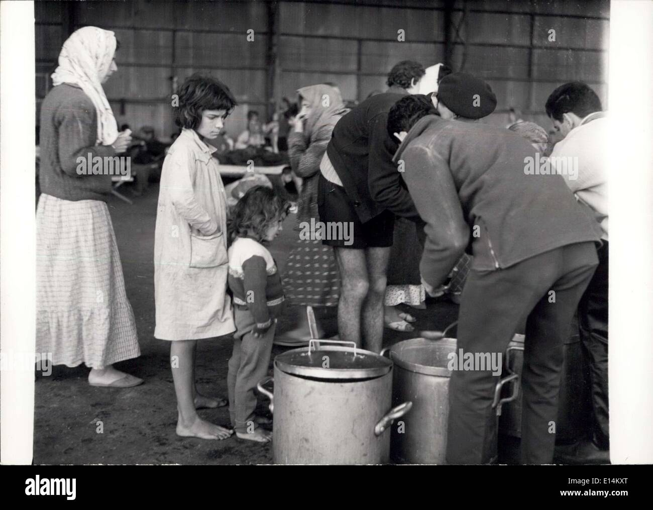 Apr. 05, 2012 - 3 FOOD BEING DISTRIBUTED TO SURVIVORS IN ONE OF THE HANGARS OF THE FRENCH AIR BASE. - Stock Image