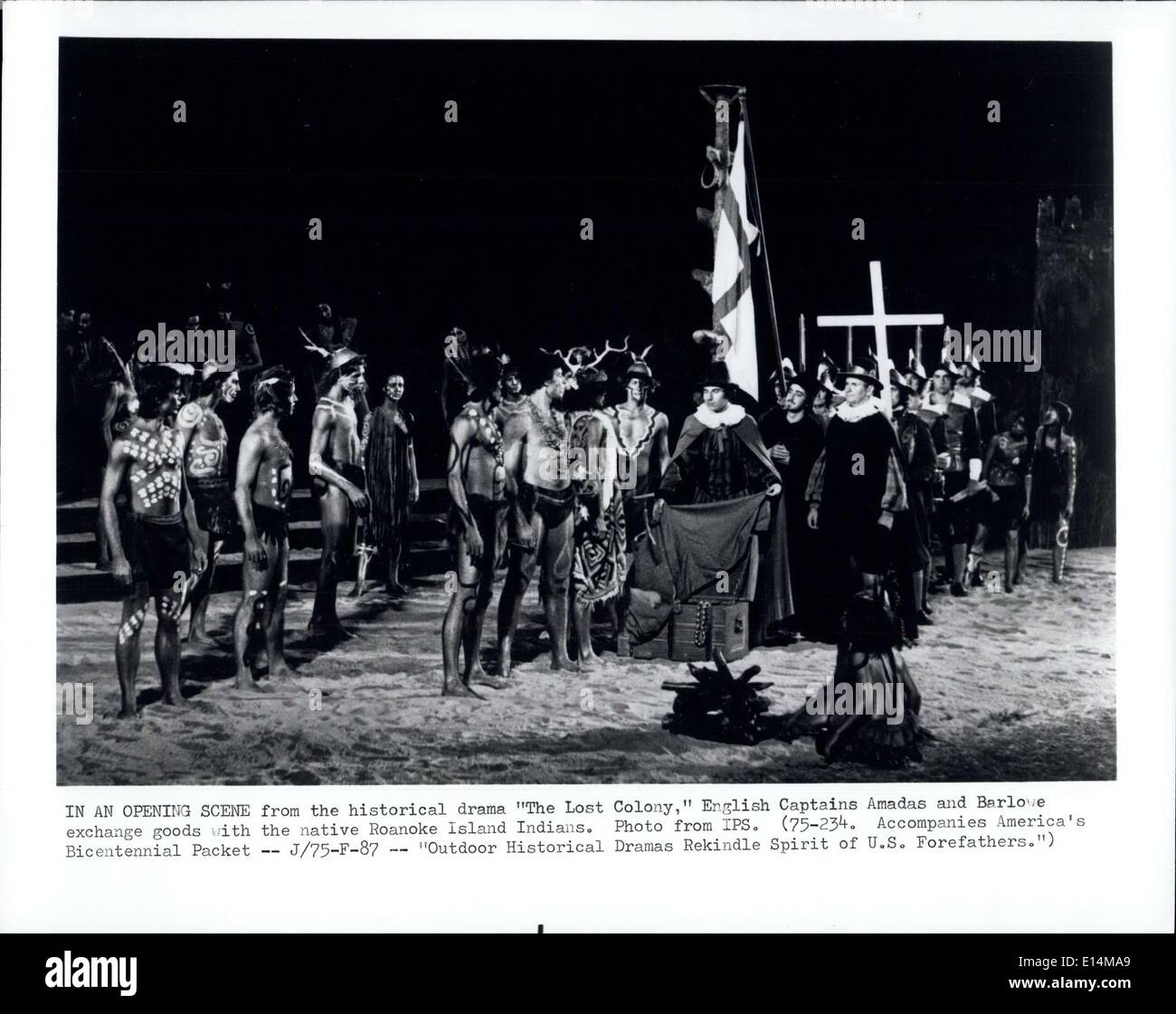 Apr. 05, 2012 - In An Opening Scene from the historical drama '' The Lost Colony,'' English Captains Amadas and Barloe exchange goods with the native Roanoke Island Indians. - Stock Image