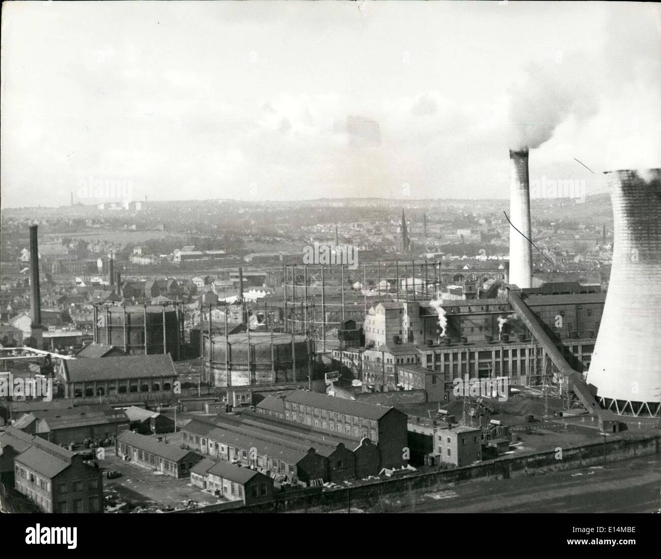 Apr. 05, 2012 - Industrial scene showing factor cooling towers - Stock Image