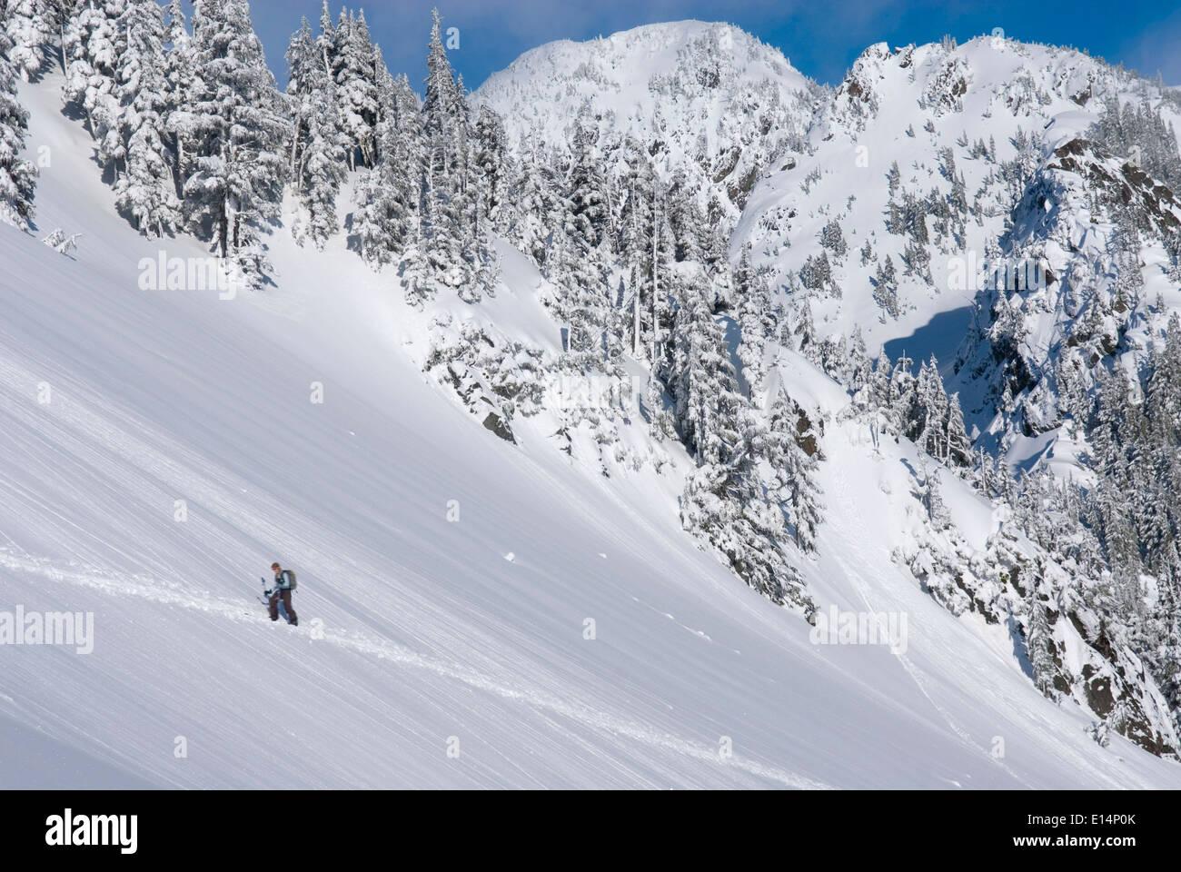 Snowshoer walking up snowy hillside - Stock Image