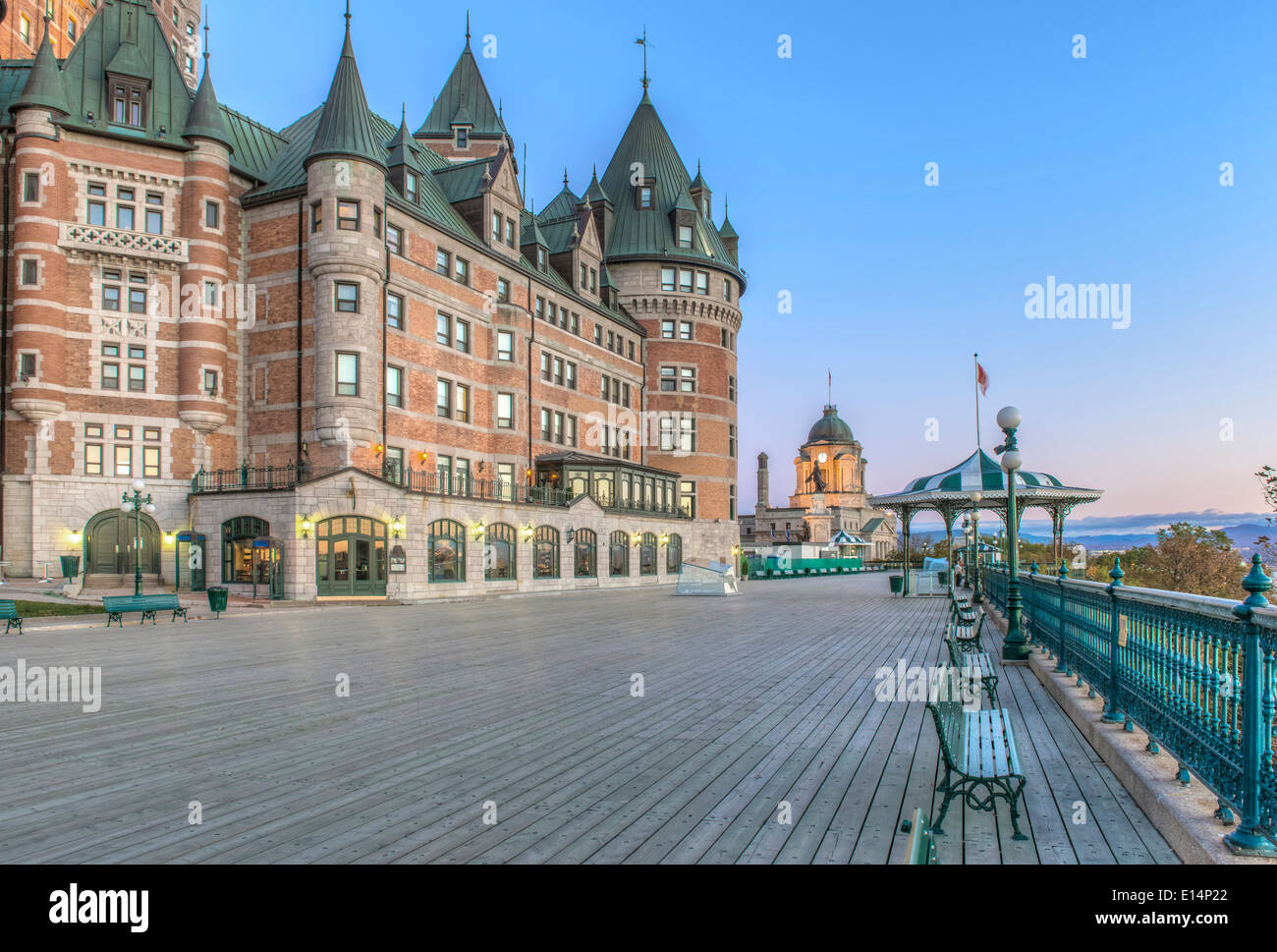 Chateau Frontecac at dawn, Quebec, Canada - Stock Image