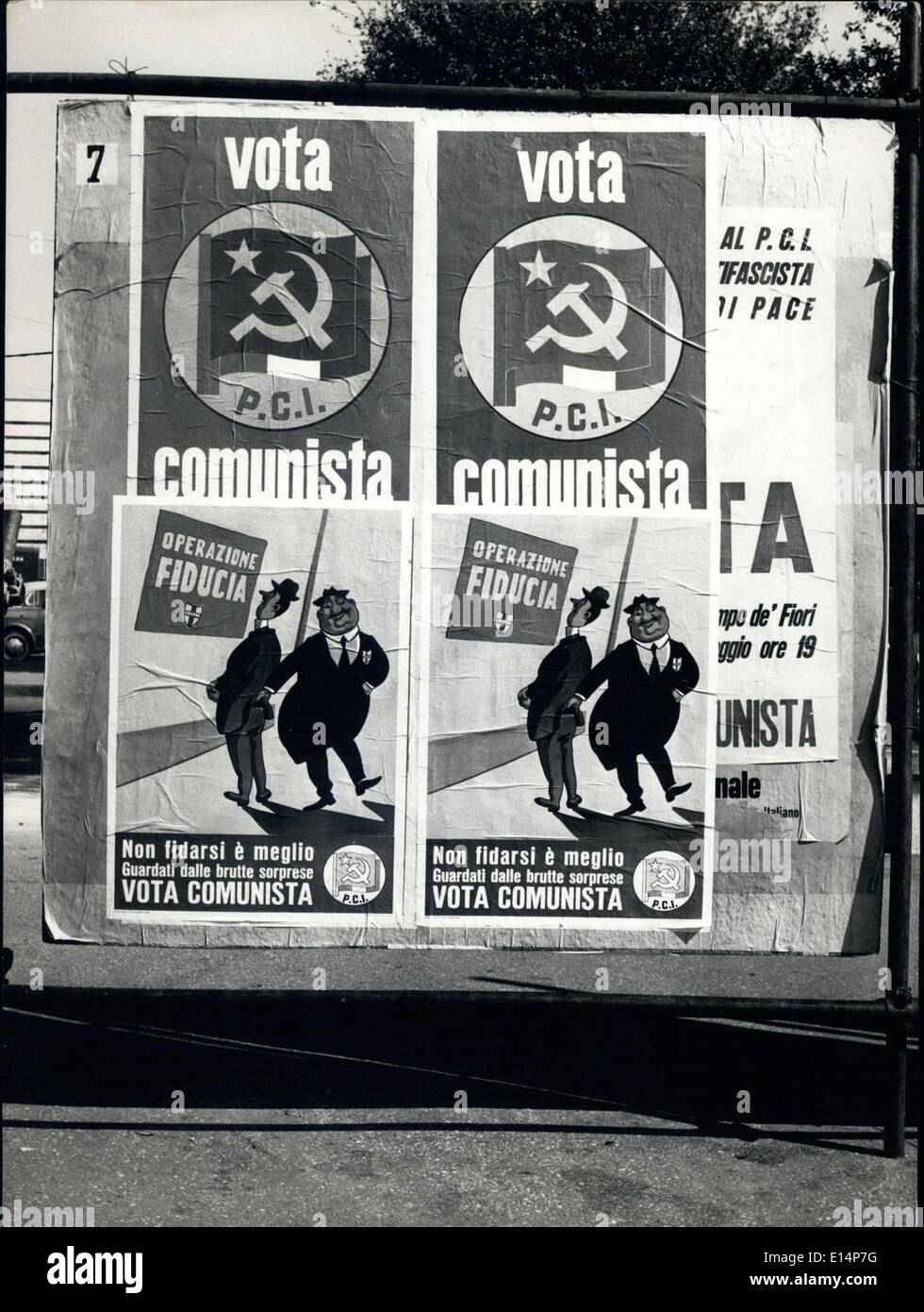 Apr. 12, 2012 - Communist Party Posters for Upcoming Elections in Rome - Stock Image