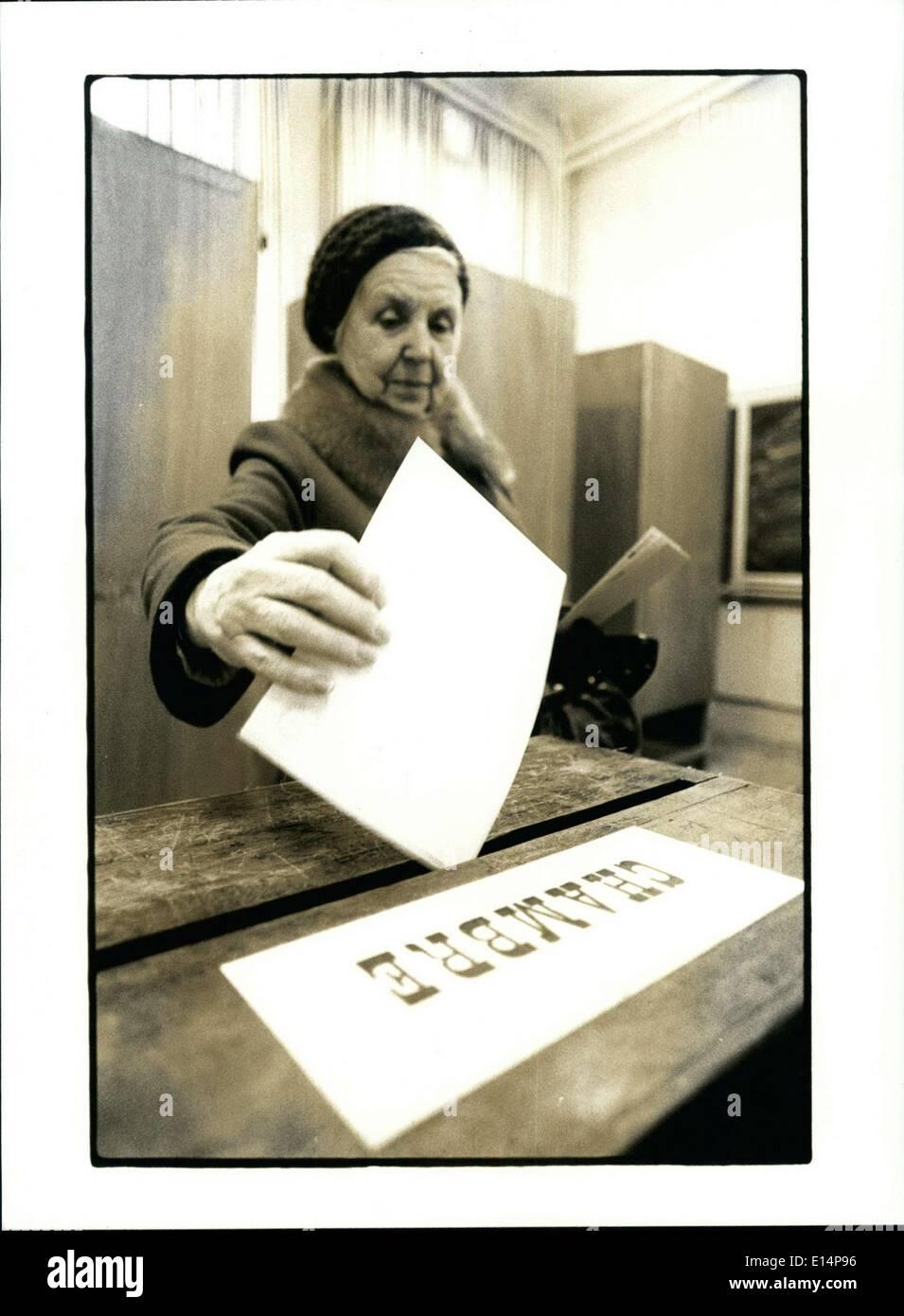 Apr. 12, 2012 - Woman Votes in Belgium's Legislative Elections - Stock Image