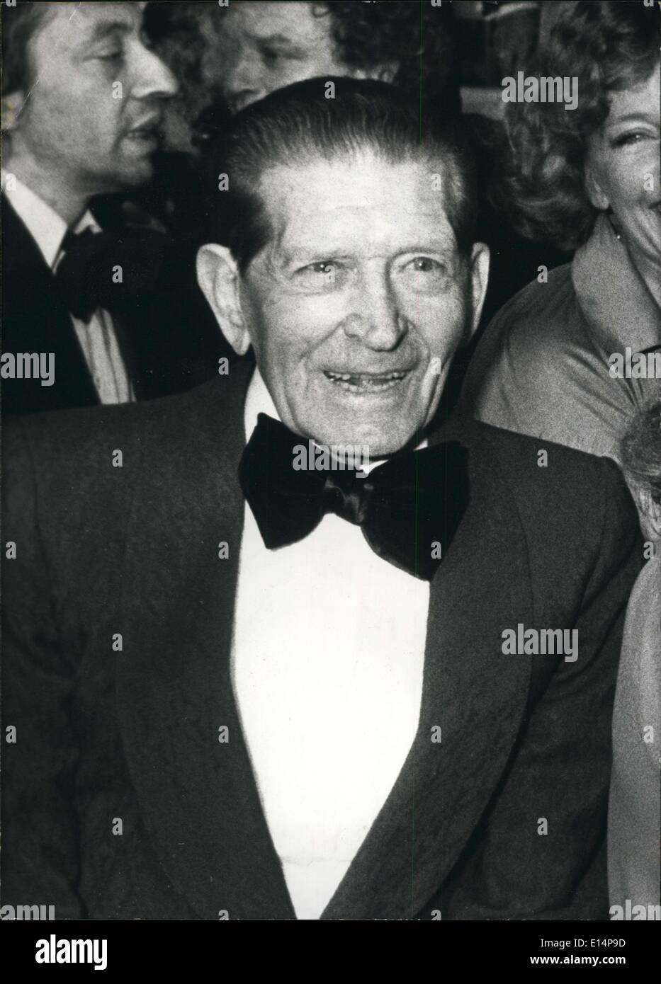 Apr. 12, 2012 - Actor Albert Prejean dies at age 85 - Stock Image