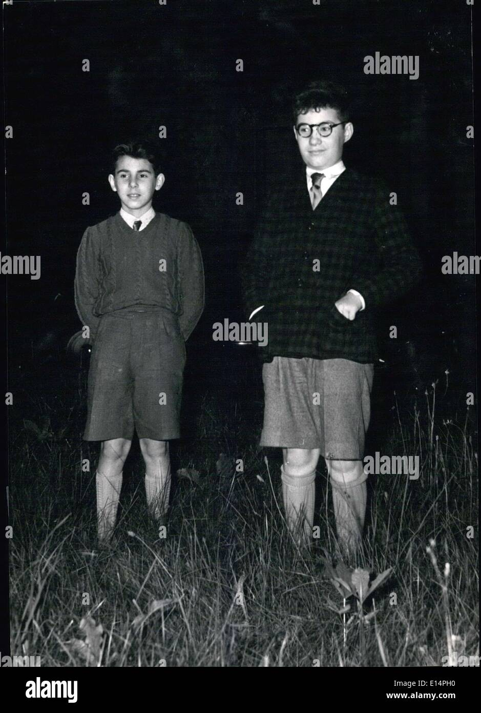 Apr. 12, 2012 - Finally children back in France: Robert and Gerald finally photographed as they arrived at Senlis, Stock Photo