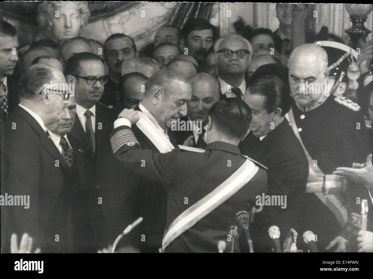 Apr. 18, 2012 - After 18 years Commences again In Argentina a Peronist Goven Bluenose Ares, May 25th 1973 : On occasion of the ''25 de Mayo'' the Ida  bertad'' In Argentina there took place the assumption of ex-president successor Dr. Hector J.Camphor as president of Argentina succeeding the  Junta headed by general A.Larousse,- The traditional ceremony of a  took place at government house and the mentioned sites with their alga's to celebrate the day, and to see their new Chiefs - Stock Image