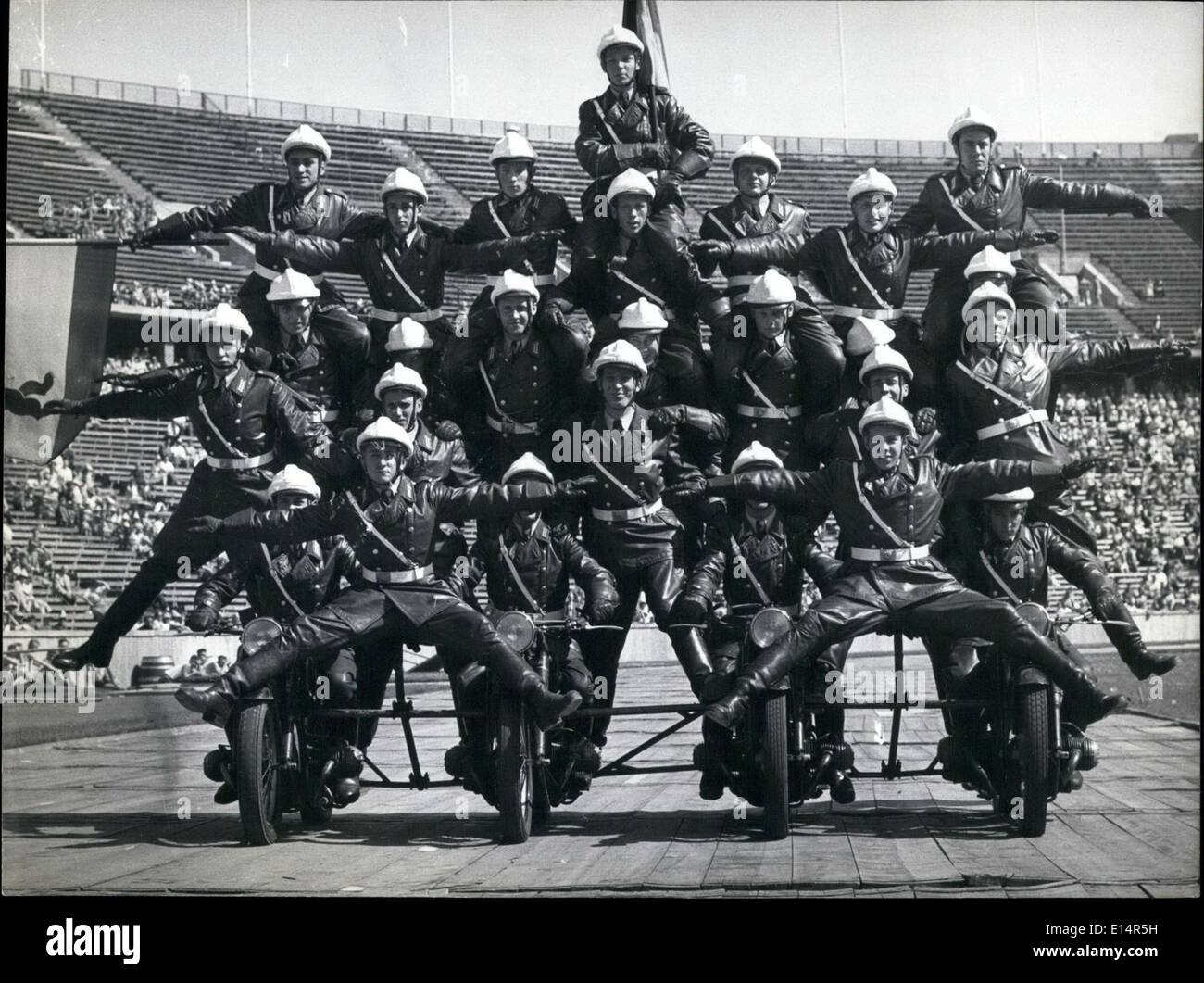 Apr. 18, 2012 - Final rehearsal for the big ''Police Parade 1958'': In the morning hours of 28.8.58 the final rehearsal for the - Stock Image