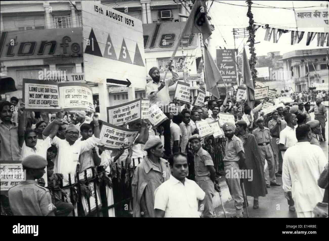 Apr. 18, 2012 - Non-communist opposition parties holding a demonstration at Delhi Gate to protest against the rise in prices, as Prime Minister passed from Delhi Gate on her way to address the Nation on the occasion of 26th Anniversary of India's Independence Day on August 15th from the historic Red Fort in Delhi. - Stock Image