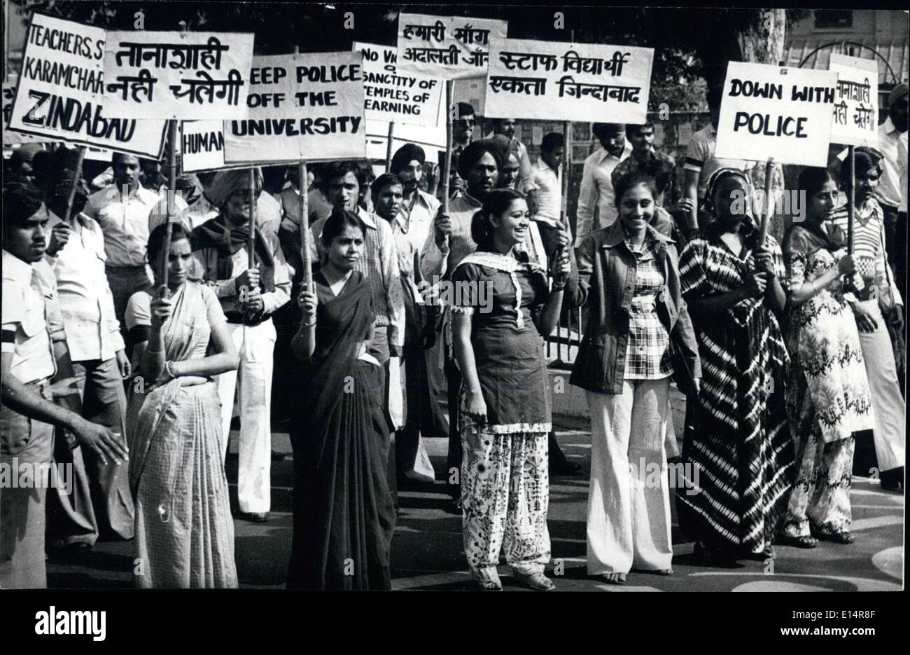 Apr. 18, 2012 - Khalsa college students marching to the Raj Bhawan in a peaceful procession to protest against police entry in the Delhi University Campus colleges in Delhi on Wednesday - November 14, 1979. - Stock Image
