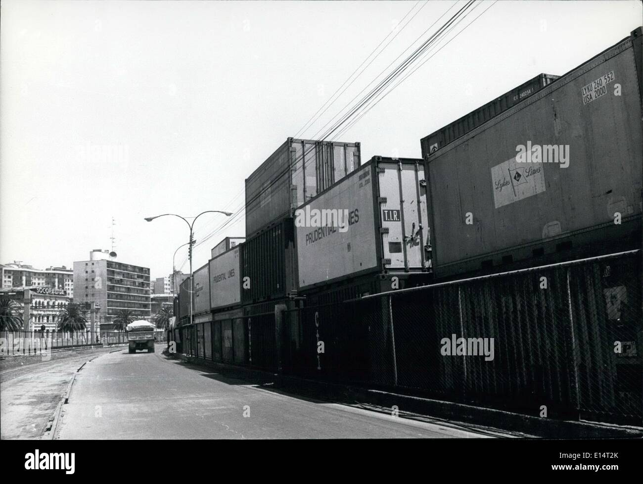 Apr. 18, 2012 - Valpariso, Chile: Contaminated freight at Port. - Stock Image