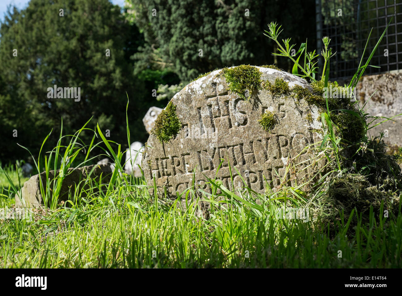 A grave stone marker in an old Irish country churchyard from 1775 - Here lyeth ye body of....... - Stock Image