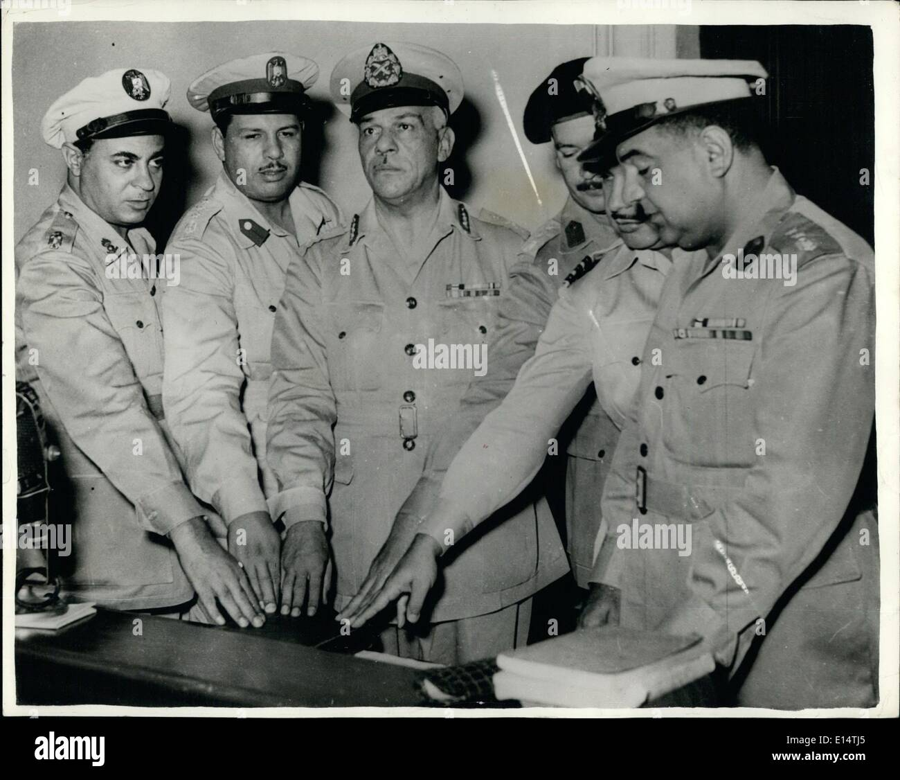 Apr. 18, 2012 - Twelve Accused In Cairo Conspiracy Case.. Alleged Plot To Kill President Nasser. Twelve people are facing trial - Stock Image