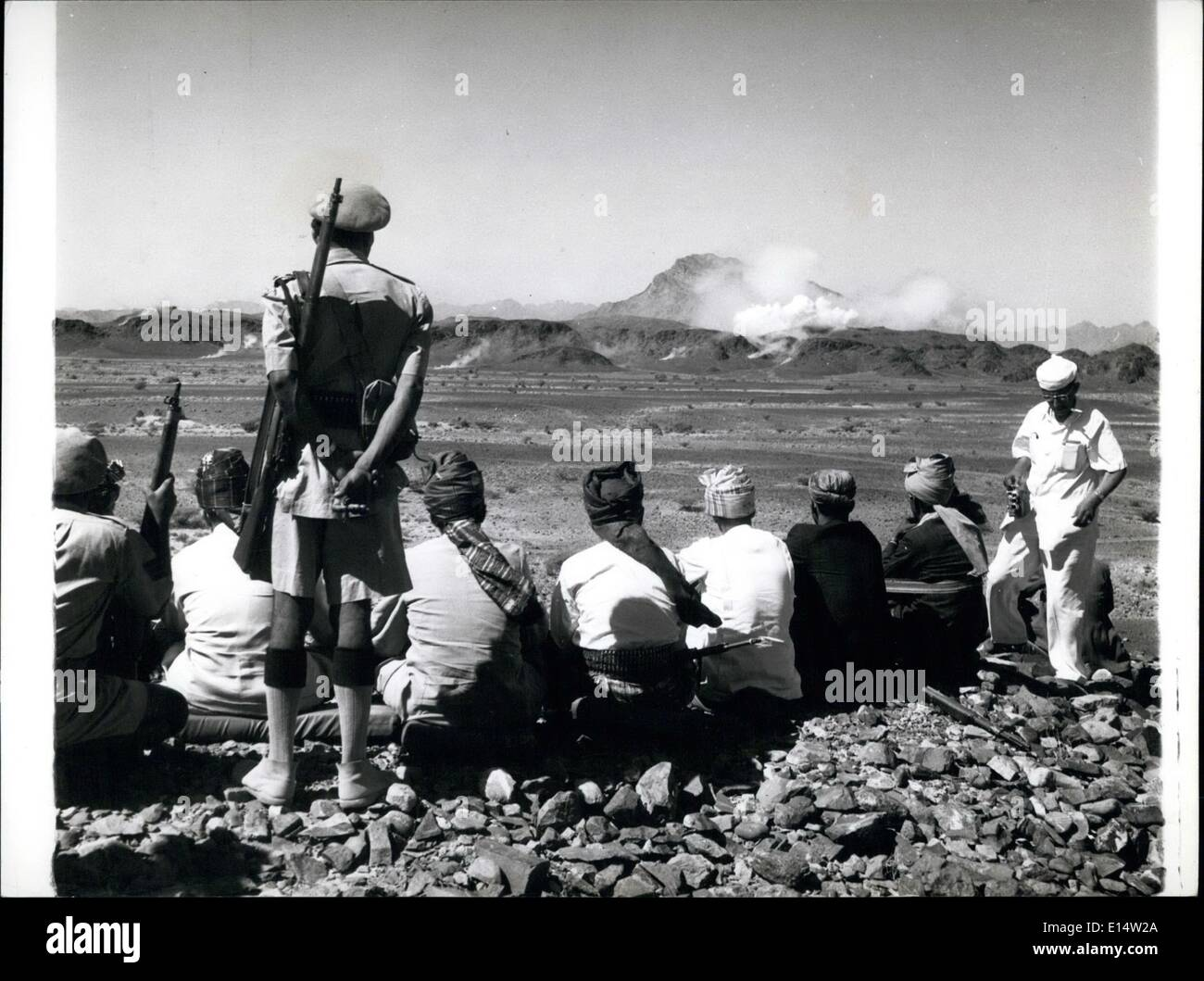 Apr. 18, 2012 - Yemen -Aden border : Sultans and Headmen watch the Aden Frontier hills as they are pounded by Mortar and Machine - Gunfire. - Stock Image